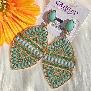 Boho Earrings Bead Rhinestone Turquoise Post Drops